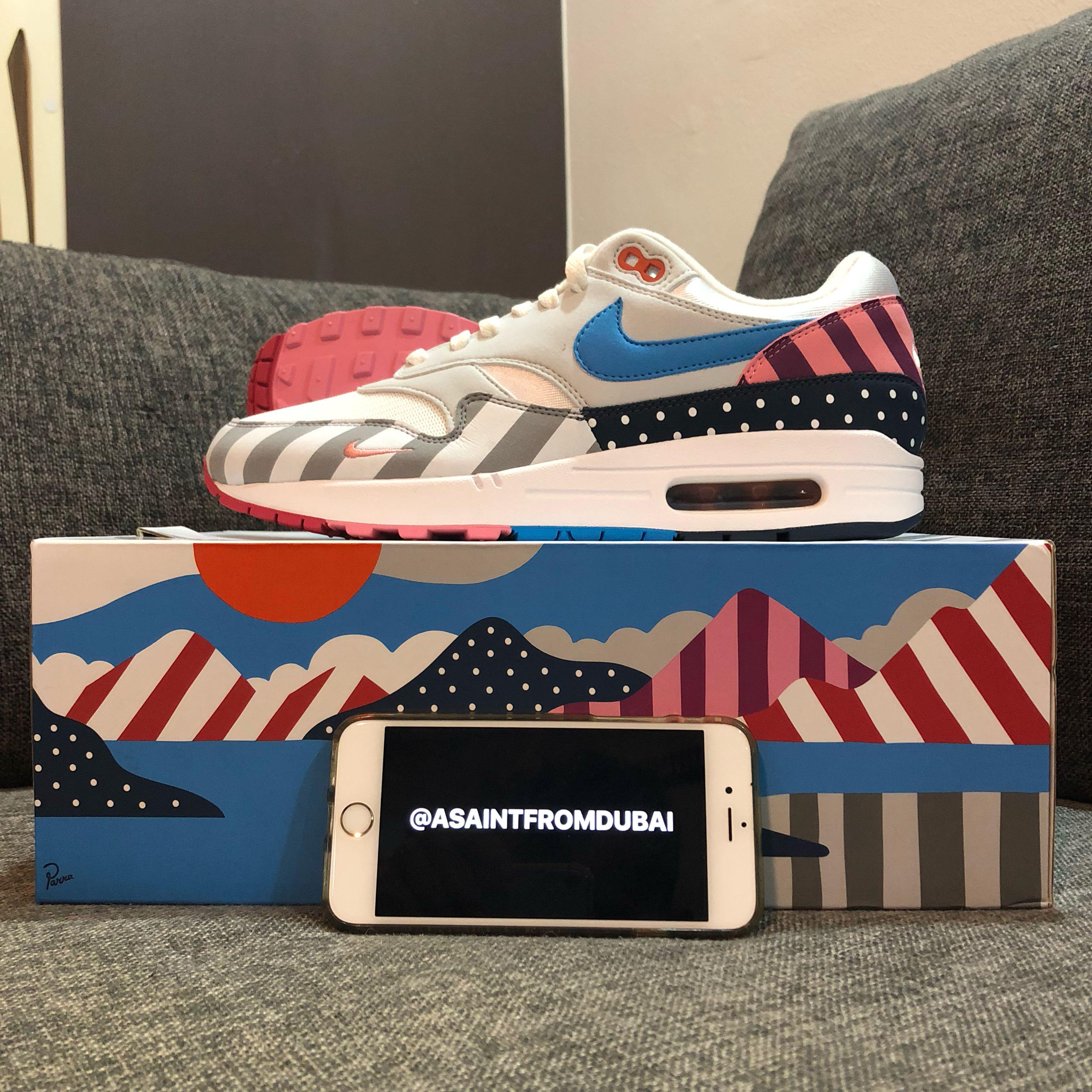 US9 Nike Air Max 1 x Parra, Women's Fashion, Shoes, Sneakers