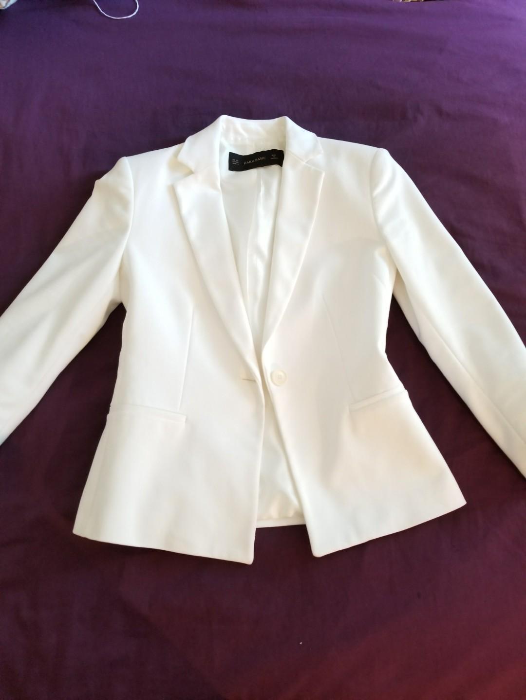 Zara Structured Blazer White xs