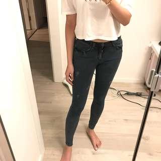 Korea grey skinny jeans