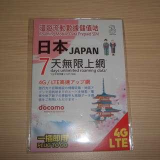 ★★★  7GB 日本 docomo 4G LTE 7天無限上網咭 Sim卡 100%全新未開封 3台日本上網卡 ★★★