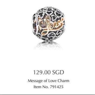 Authentic Pandora Message of Love Charm