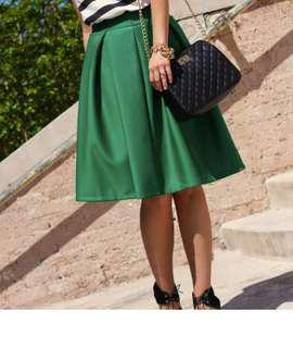 BNWT Green Silky Midi Skirt
