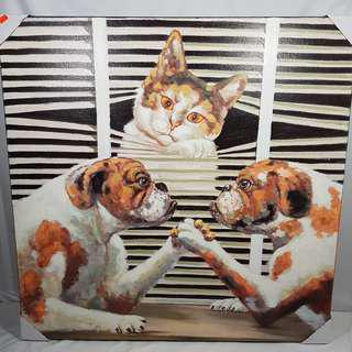 "Large Picture Cat & Dog Size: 32"" X 32"" New"