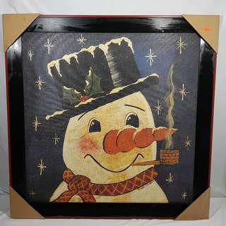 "Large Wall Hanging Picture of Snowman. Size: 31"" X 31"" New"