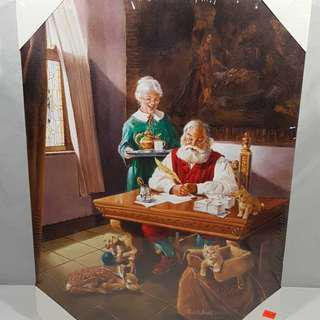 "Medium Picture Santa and Mrs. Claus Size: 16"" X 20"" New"