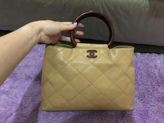 Chanel Wooden Handle Beige