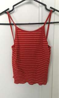 Red and white striped tank
