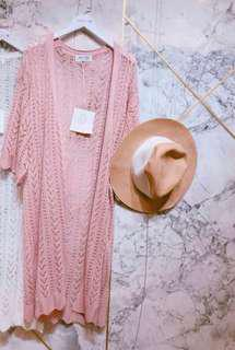 🚚 甜美風寬鬆長版粉嫩乾燥玫瑰色針織長罩衫、外套