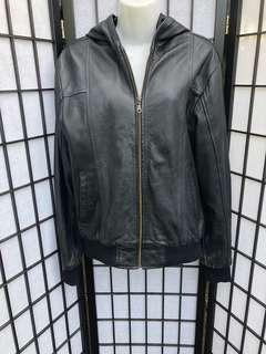 SALE!!Hooded leather jacket