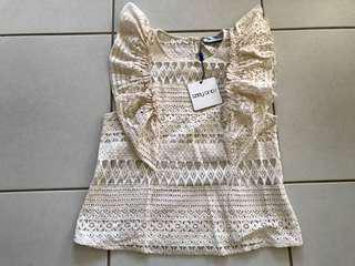 BNWT Ebony & I beige top Size S/M