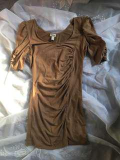 Sexy suede mini dress