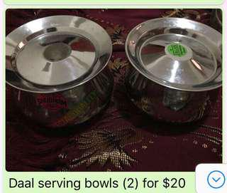 Two Lentil or vegetable serving bowls