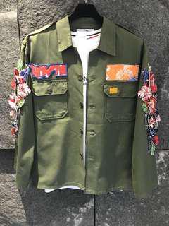 軍綠軍裝款襯衫外套