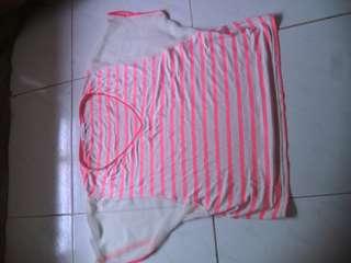 Atasan garis pink