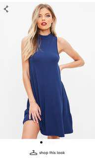 BNWT Missguided navy blue loose dress size US 0