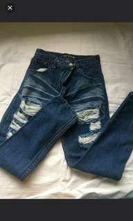HW Denim Tattered Pants