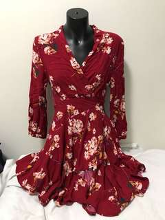 Size small red floral wrap tie up dress