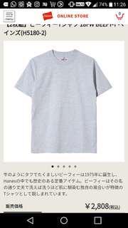 日本版 Hanse Beefy-T Tshirt 白/灰 兩件裝