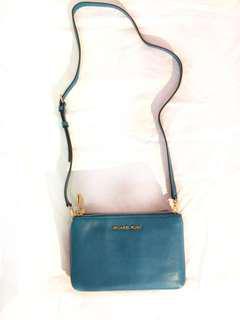 Michael Kors Turquoise Gusset Crossbody (Genuine Leather)