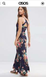 ASOS Pinafore Maxi Dress in Navy Floral Print size uk4