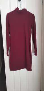 Burgundy long sleeve dress!
