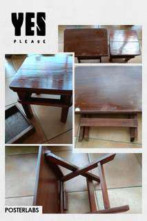 Pre-loved Wooden Reading Table + Stool with Drawer