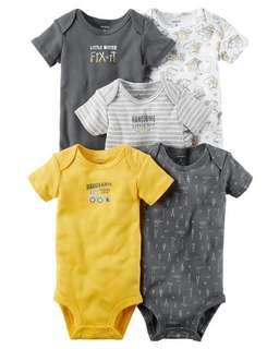Brand New Instock Carter's 5 Pc Short Sleeve Rompers Bodysuits Onesies Set Boys