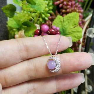 (來玉加工)精緻設計款18K白金月亮鑽石💎吊墜😍