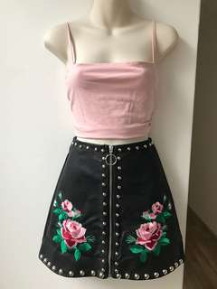 Embroidered Leather Skirt S/M/L