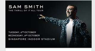 🚚 Sam Smith The Thrill Of It All Tour 2 October - 2 tickets