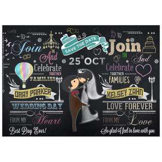 Customized Wedding Chalkboard Design: Chalkish Love (Design 14)