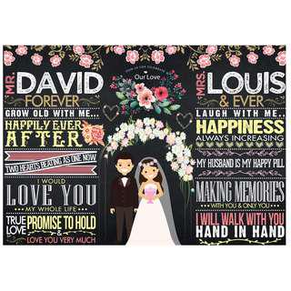 Customized Wedding Chalkboard Design: Flowery Theme (Design 12)
