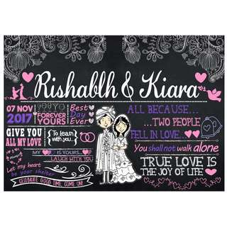 Customized Wedding Chalkboard Design: Traditional Indian style (Design 10)