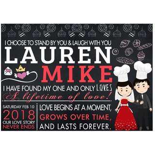 Customized Wedding Chalkboard Design: Cook together (Design 6)