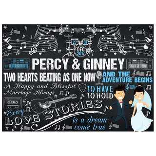 Customized Wedding Chalkboard Design: Music Lover (Design 5)