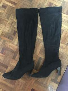 Black suede tall boots with heels 245cm size 39 us 8