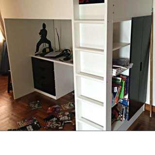 Stuva Ikea Loft Bed- black Wardrobe