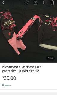 Motor bike outfit,kids size 12 top pants size 10