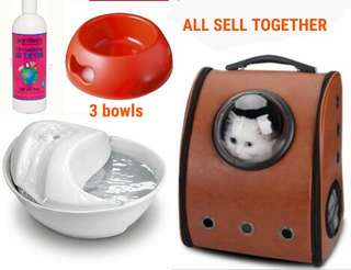 Cat dog pet ceramic fountain, brown carrier, 3 red pet bowls and shampoo sell together.