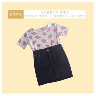 (free shipping) korean boxy top + denim skirt set