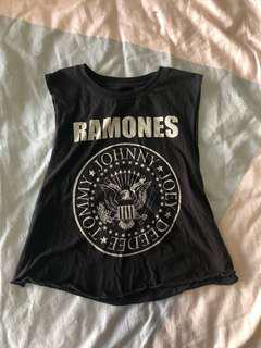 Ramones muscle crop top - size small