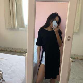 Black dress slit kiri