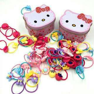 Hello Kitty Tin Can with 30 pcs Pony Tail
