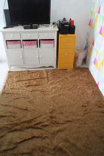 SALE !! 100x160 Karpet bulu aromanis coklat silver queen