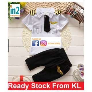(Free Delivery) Baby Boys Toddler Clothing Pilot Clothes Set Kids Casual T shirt + Shorts Outfit