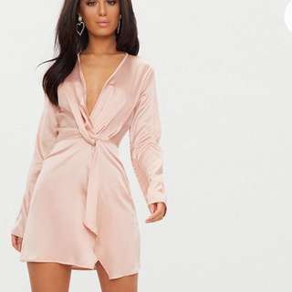 Nude Satin Long Sleeve Wrap Dress