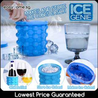 🚚 Ice Cube Maker Genie/ Silicone Ice Tray Mold Bucket/ Store 120 ice cubes!