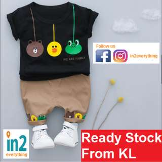 (Free Delivery) Baby Boys Toddler Clothing LINE Brown Sally characters Short-Sleeve T-Shirt + Shorts clothes Set Kids Casual Outfit