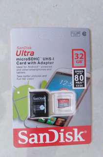 Micro SD Card SanDisk 32gb & 80mb/s