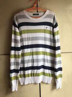 Oversized green striped sweater